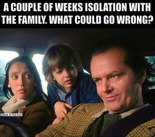 a meme featuring actors from the Shining, a man and woman in the front seat of a car and a child in the backseat