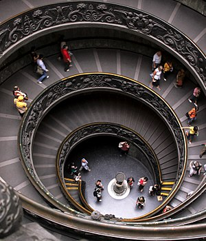 English: Spectacular spiral staircase in the V...