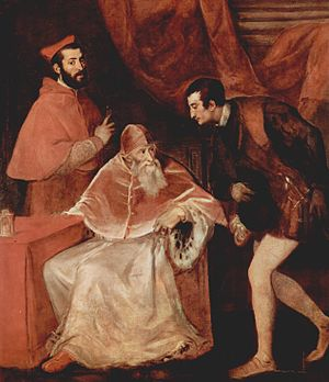 Pope Paul III with his grandsons, Cardinal Ale...
